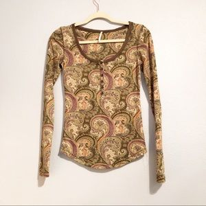 Free People Paisley Henley Thermal Top